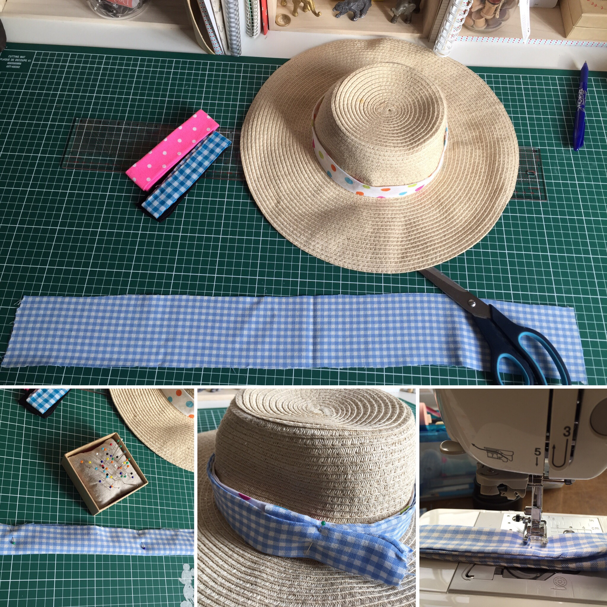 couture pour personnaliser son chapeau de paille atelier cricracroc by chris humeurs et fantaisies. Black Bedroom Furniture Sets. Home Design Ideas
