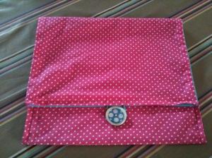 pochette à pois rose et turquoise